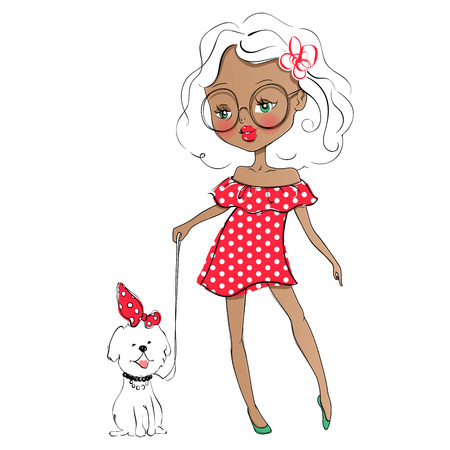Cute vector girl and pet. Stylish young teen went for a walk wit Illustration