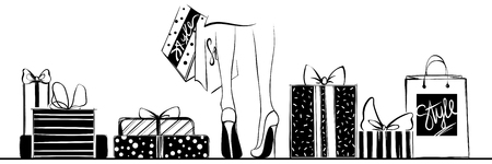 Vector girl in high heels surrounded by shopping bags, gift boxe