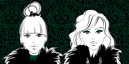 Fashion girls, woman face, beautiful ladies vector icon. Cute and young model portrait, beauty vogue style trendy design.