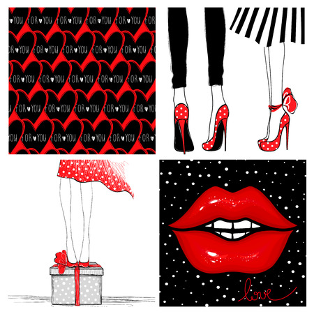 Super kit with fashion vector cards. Red glow lips, seamless heart.