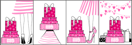 Kit of contemporary greeting cards for holidays vector design. Vettoriali