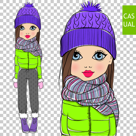 Cute vector fashionable girl on a transparent background.