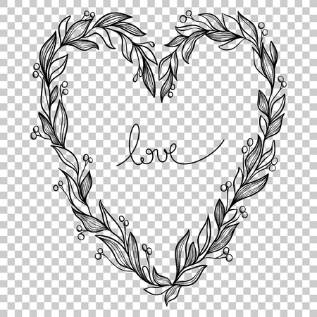 Vector Heart With Leavesberries On A Transparent BackgroundCute