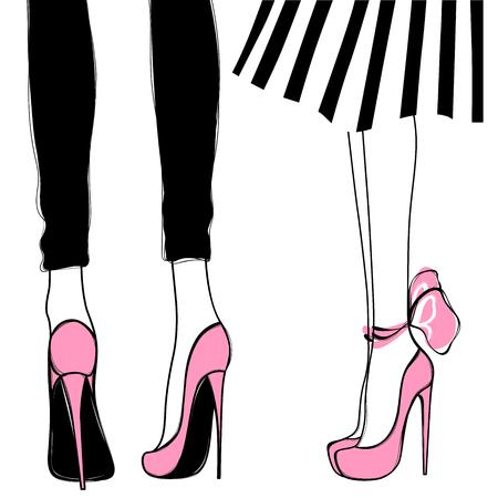 Chicas de vector en tacones altos. Ilustración de moda. Piernas femeninas en los zapatos. Lindo diseño Imagen de moda en estilo de moda. Mujeres de moda. Señoras con estilo.