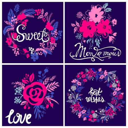 Vector kit of greeting card. My love, sweet, best wishes. Colorful floral design. Cute composition with abstract blooming elements. Best collection for Valentines day,Happy Birthday.