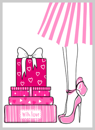 Kit of contemporary vector greeting cards for holidays design, fashion illustration.