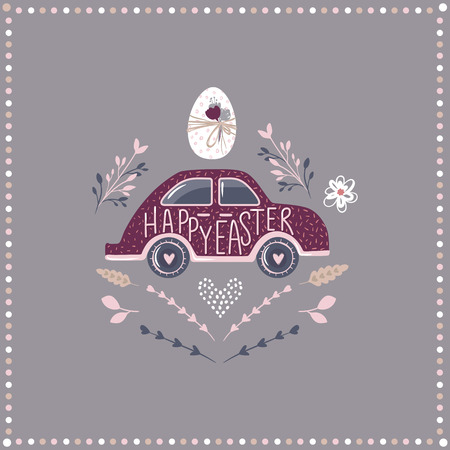 Happy Easter text on a purple car with an egg on a greeting card illustration