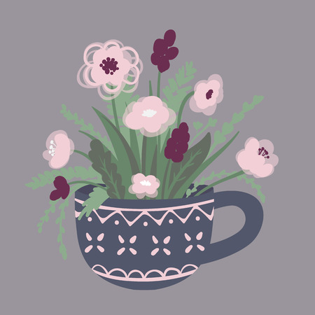 Vector flowers in cup. Cute Greeting card. Spring floral illustration. Doodle style. Hand drawn design.