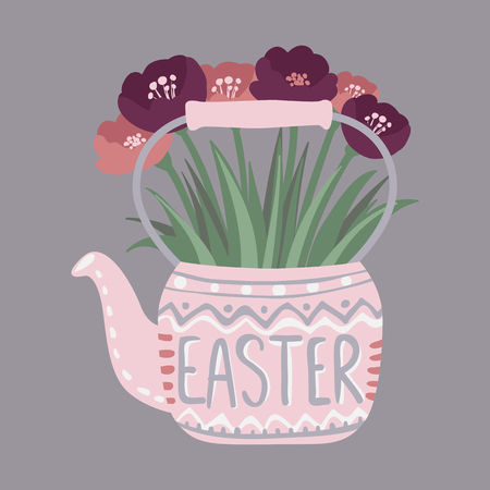Vector flowers in teapot. Cute Greeting card. Spring floral illustration. Doodle style. Hand drawn design.