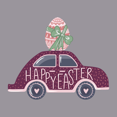 Vector Easter car with egg. Greeting card. Spring illustration. Funny design. Happy Easter hand drawn text. Cute holidays art.