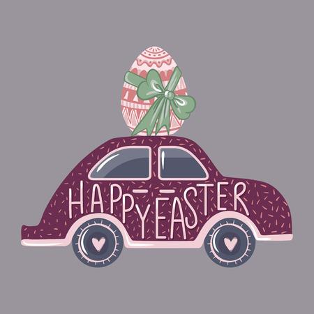 Coche de Pascua vector con huevo. Tarjeta de felicitación. Ilustración de primavera Diseño divertido Feliz Pascua texto dibujado a mano. Lindas vacaciones art.