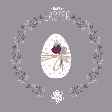Happy Easter egg. Spring illustration. Holidays vector greeting card. Hand drawn design. Cute floral frame.