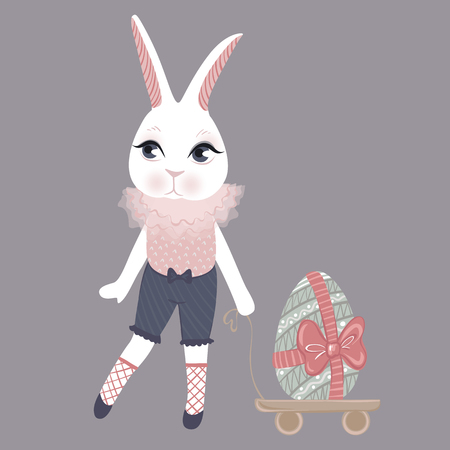 Vector Easter bunny with eggs. Spring illustration. Funny fashion rabbit. Happy Easter greeting card.