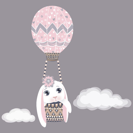 Vector Easter bunny in air balloon. Spring illustration. Funny fashion rabbit. Happy Easter greeting card. Vettoriali