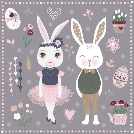 Vector Set of cute Happy Easter cartoon characters and design elements. Bunnies, Easter eggs, flowers, hearts. Spring illustration. Funny fashion rabbit.