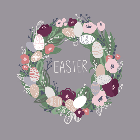 Easter wreath with flowers, leaves and eggs. Vector Greeting card. Spring illustration.