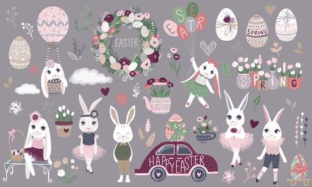 Big Set of cute Happy Easter cartoon characters and design elements. Bunnies, Easter eggs, flowers, hearts. Spring illustration. Funny fashion rabbit. Illusztráció