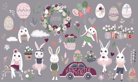 Big Set of cute Happy Easter cartoon characters and design elements. Bunnies, Easter eggs, flowers, hearts. Spring illustration. Funny fashion rabbit. Stock Illustratie