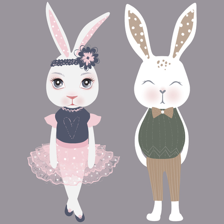 Vector cute couple bunnies. Girl and boy. Happy Easter illustration. Cartoon rabbit. Funny fashion animals. Hand drawn graphics.