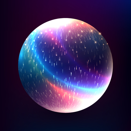 Vector abstract glowing magic sphere. 3d planet concept. Shape of glowing circles and particles. Futuristic globe. Neon lights planet. Illustration for presentations, party flyers, banners. 矢量图像