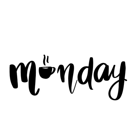 Monday - Vector hand drawn lettering phrase. Modern brush calligraphy for blogs and social media. Motivation and inspiration quotes for photo overlays, greeting cards, t-shirt print, posters.