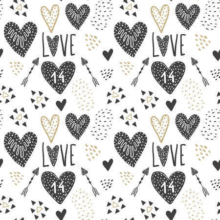 Vector cute seamless pattern. Doodle illustration in sketch style. Cartoon background Love, hearts, animals. Stock Illustratie