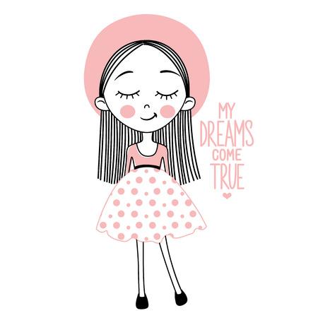Cute vector girl. My dreams come true.