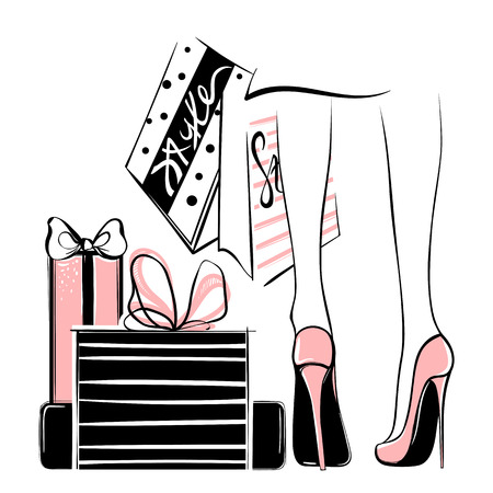 Vector girl in high heels surrounded by shopping bags, gift boxes Illustration