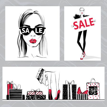 Fashion illustration. Vector stylish girls.
