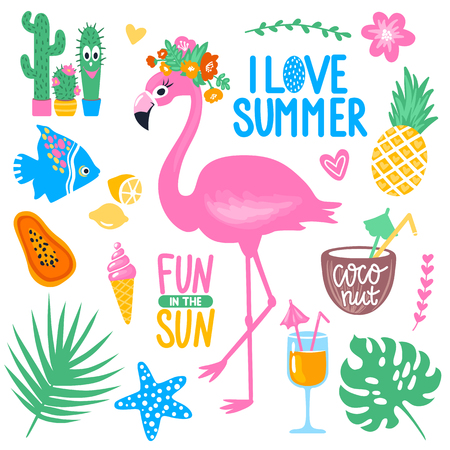 Vector summer set with pink flamingo, monstera, tropical leaves,
