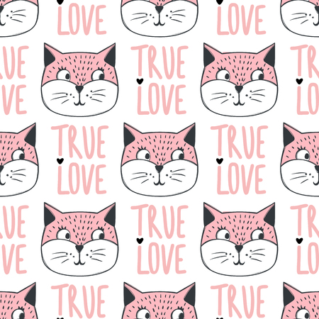 Fashion cat seamless pattern. Cute kitten illustration in sketch style. Cartoon animals background. Doodle kitty. Ideal for fabric, wallpaper, wrapping paper, textile, bedding, t-shirt print.