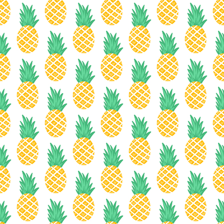 Vector seamless pattern with pineapples. Exotic background. Colorful cartoon summer illustration. Jungle print. Ideal for wrapping paper, textile, bedding, fabric.