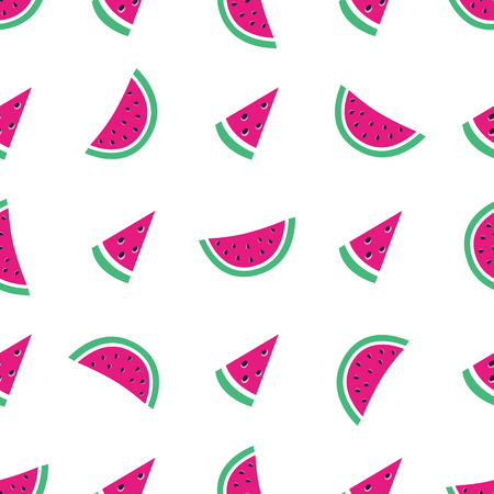 Vector seamless pattern with watermelon. Exotic background. Colorful cartoon summer illustration. Fruit print. Ideal for wrapping paper, packaging, textile, bedding, fabric.