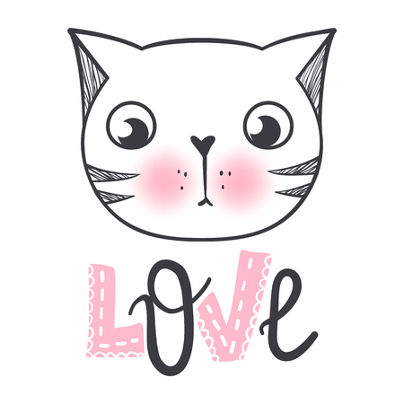 Vector cute fashion cat. Stylish kitten. Doodle Kitty. Kids animals print. Funny character. Cute illustration, trendy design. Naive art. Cats Love. Illustration