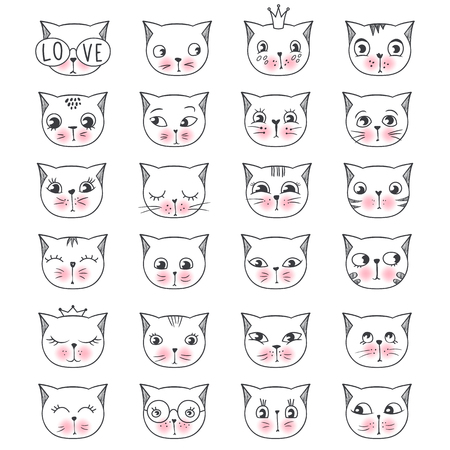 Big vector collection with cute fashion cats. Stylish kitten set isolated. Trendy illustration in sketch style t-shirt print, cards, poster. Doodle Kitty. Kids animals series. Funny character. Illustration