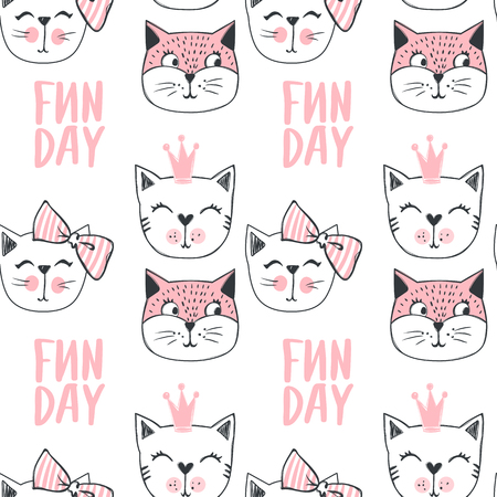 Fashion cat seamless pattern. Cute kitten background in sketch style. Cartoon animals. Doodle kitty. Stylish print.  イラスト・ベクター素材