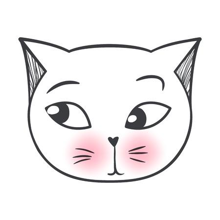 Vektor niedliche Modekatze. Stilvolles Kätzchen. Doodle Kitty. Kinder Tiere drucken. Lustiger Charakter. Nette Illustration, trendiges Design. Naive Kunst. Katzen lieben.