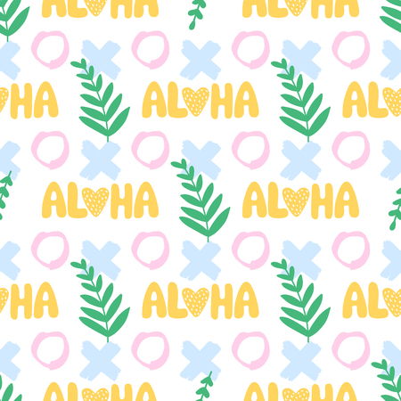 Vector seamless pattern. Aloha, rounds, spots. Exotic background. Colorful fun summer illustration. Ideal for packaging, wallpaper, wrapping paper, textile bedding t-shirt print