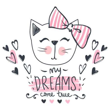 Vector card with cute fashion cat. Stylish kitten. Doodle Kitty. Kids animals print. Funny character. Cute illustration, trendy design.