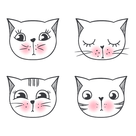 Vector series with cute fashion cats. Stylish kitten set isolated. Trendy illustration in sketch style t-shirt print, cards, poster. Doodle Kitty. Kids animals series. Funny character.