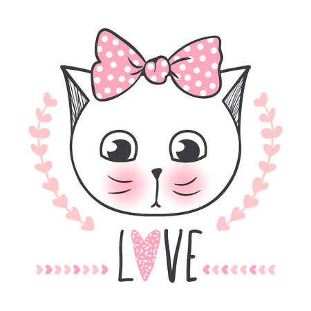 Cute cat vector design. Girly kittens. Fashion Cats face. Animal print. Cartoon illustration in sketch style. Doodle Kitty. For the design of posters, T-shirts, cards.