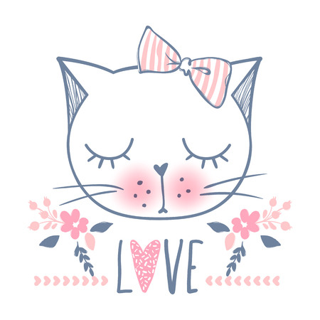 Cute cat vector design. Girly kittens. Fashion Cats face. Stock Illustratie