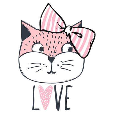 Cute cat vector design. Girly kittens. Fashion Cat's face. Animal print. Cartoon illustration in sketch style. Doodle Kitty. For the design of posters, T-shirts, cards.