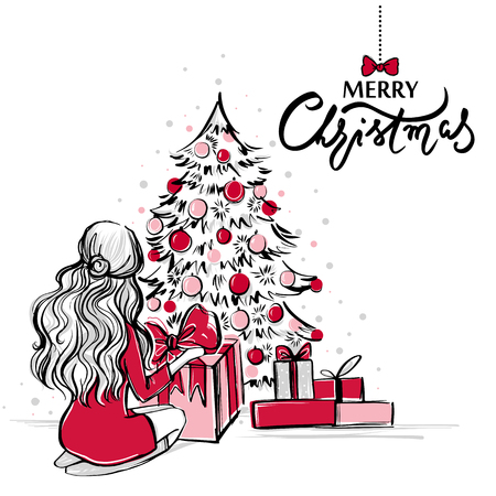 Merry Christmas And Happy New Year Vector Card. Xmas Illustration ...