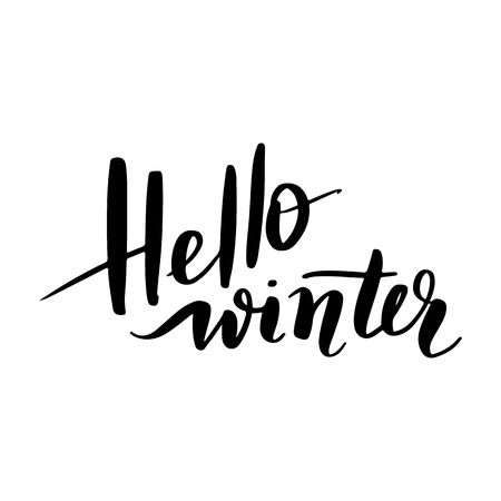 Hello winter - Vector hand drawn lettering phrases. Merry Christmas and Happy New Year 2019. Modern brush calligraphy. Holidays quotes for photo overlays, greeting cards, posters.