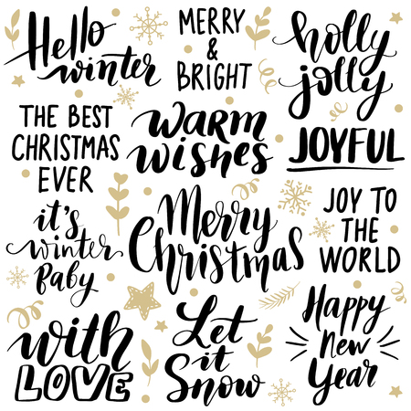 Set Merry Christmas and Happy New Year 2019 Vector hand drawn lettering phrases. Modern brush calligraphy for blogs and social media. Holidays quotes for photo overlays, greeting cards, posters. Archivio Fotografico - 127474429