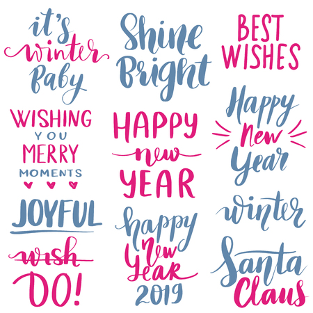 Set Merry Christmas and Happy New Year 2019 Vector hand drawn lettering phrases. Modern brush calligraphy for blogs and social media. Holidays quotes for photo overlays, greeting cards, posters.