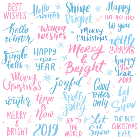 Set Merry Christmas and Happy New Year 2019 Vector hand drawn lettering phrases. Modern brush calligraphy for blogs and social media. Holidays quotes. Handwritten Inscriptions.