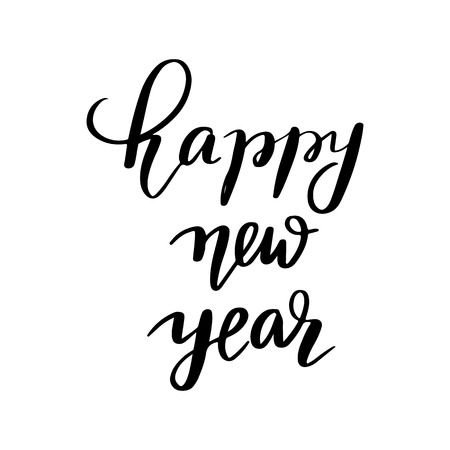 Happy new year - Vector hand drawn lettering phrases. Merry Christmas and Happy New Year 2019. Modern brush calligraphy. Holidays quotes for photo overlays, greeting cards, posters.