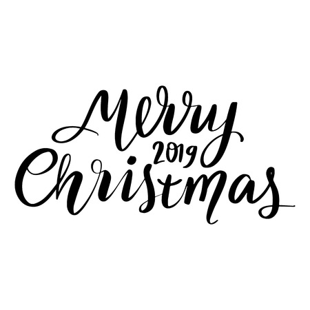 Merry Christmas - Vector hand drawn lettering phrases. Merry Christmas and Happy New Year 2019. Holidays quotes for photo overlays, greeting cards, posters.